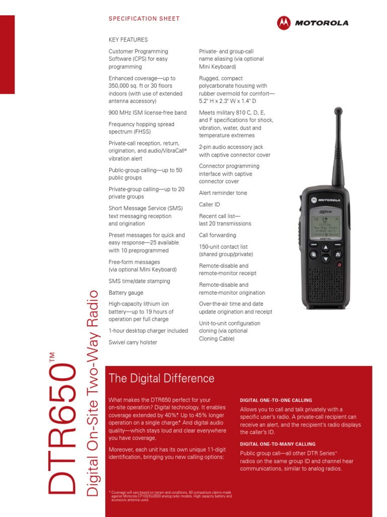 The Digital Difference: Specification Sheet