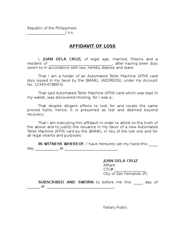 Affidavit Of Lossatm1 1 1505970014 Affidavit Of Loss Atm1 1. Affidavit Of Loss  Template Affidavit  Affidavit Of Loss Template
