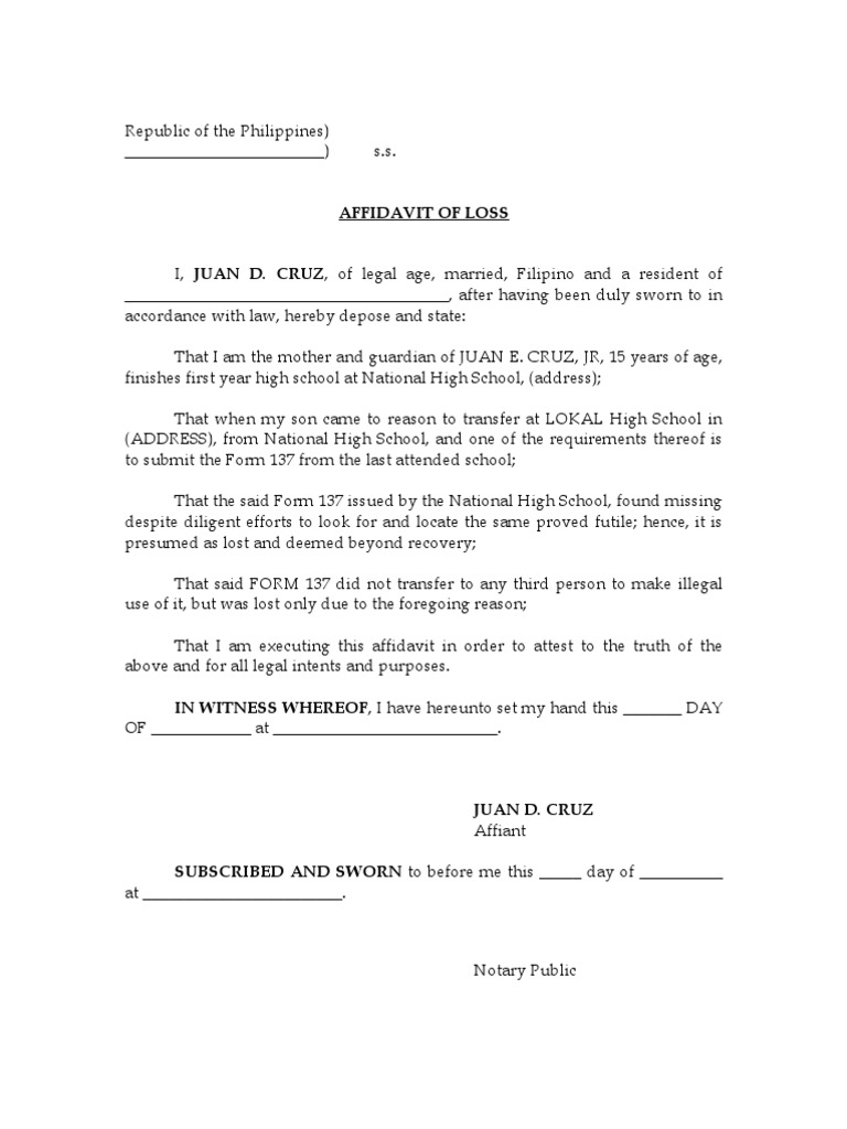 Affidavit Of LossFORM1371 2