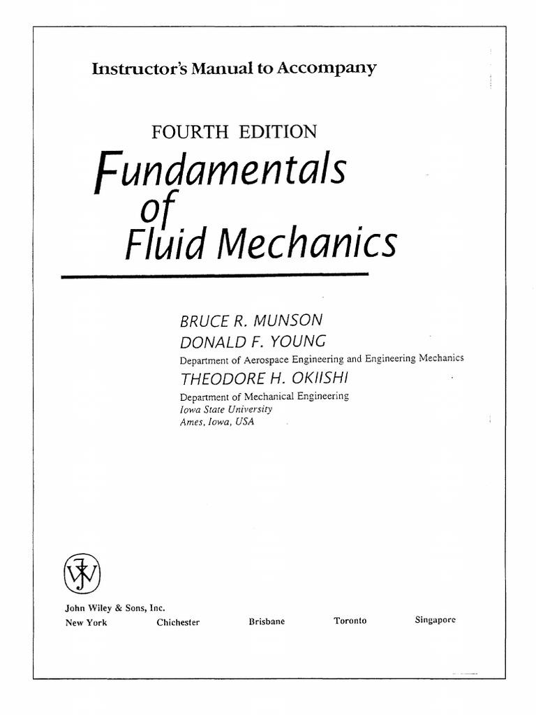 Solution manual fundamentals of fluid mechanics th