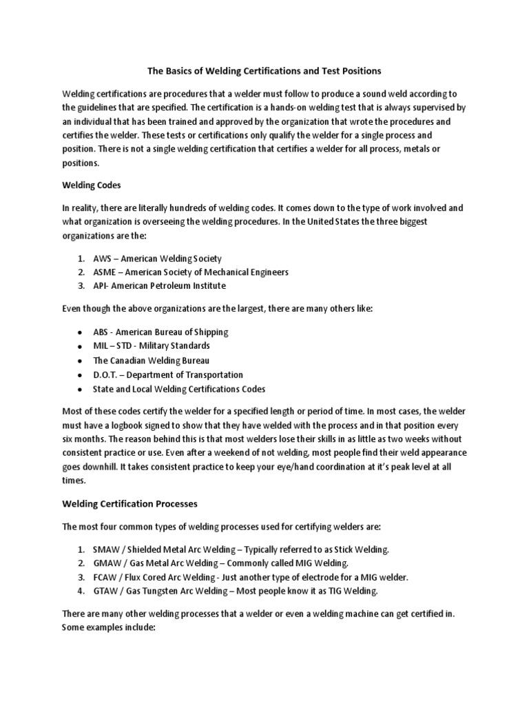 Welder Certification Pdf Welding Pipe Fluid Conveyance