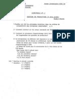 gestion de production - contrôle continu 1998-1999