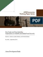 Rice Trade and Price Volatility