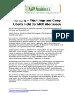 Warnung – Flüchtlinge aus Camp Liberty nicht der MKO überlassen