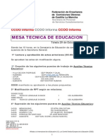 Hoja Informativa de Mesa Tecnica 29 Octubre 2013.