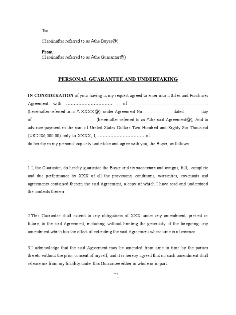 Sample Personal Guarantee Guarantee Contract Law