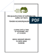 Preq of Suppliers -Supply of Tents 2013-2014