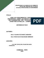 NIVEL DE CONOCIMIENTOS Y PRÁCTICAS PREVENTIVAS SOBRE ACCIDENTES DOMESTICOS DEL CUIDADOR DEL PRE – ESCOLAR. PUEBLO JOVEN TRES ESTRELLAS - CHIMBOTE 2006.