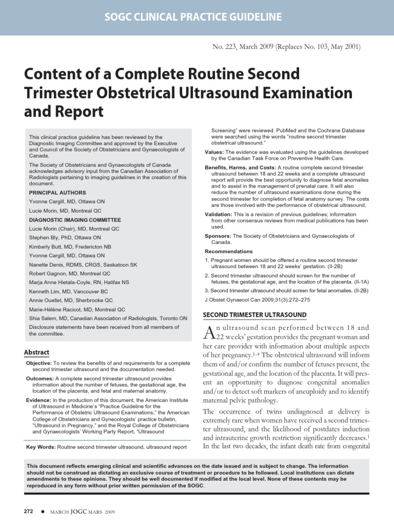 Content of a Complete Routine Second Trimester Obstetrical ...