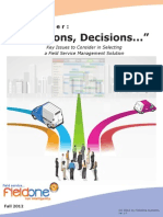 Decisions Decisions Key Issues to Consider in Selecting a Field Service Management Solution