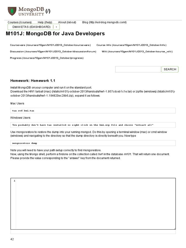 mongodb for java developers homework 1.1