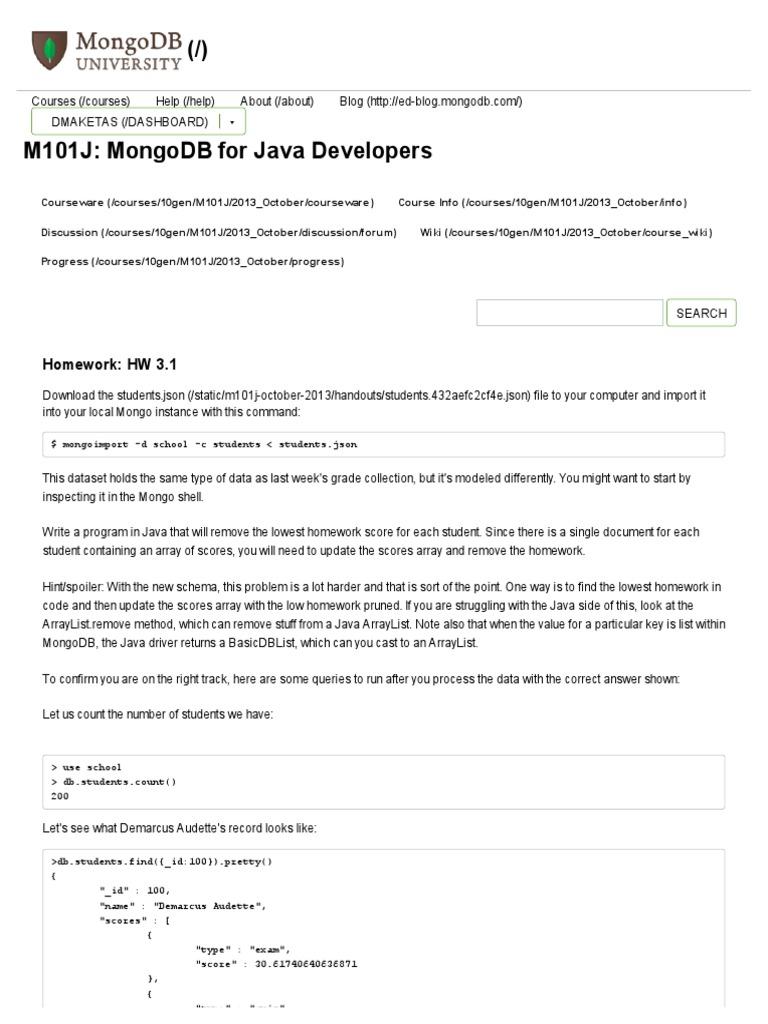 mongodb homework 3.3 java