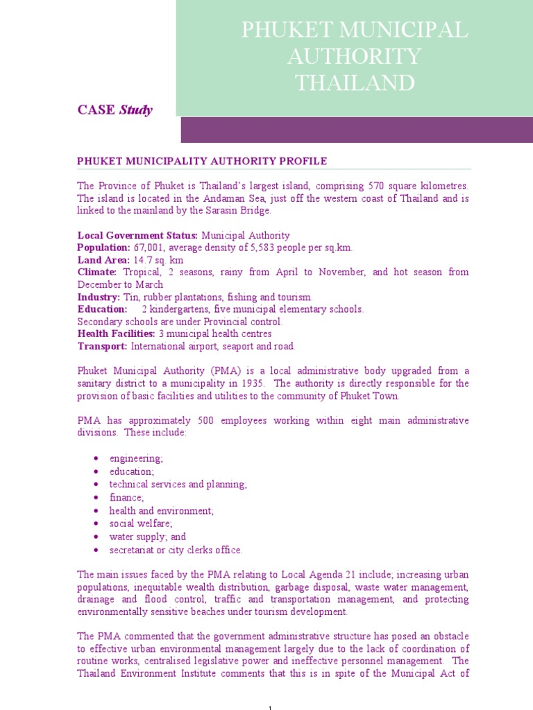 Phuket Thailand Agenda 21 | Environmental Resource
