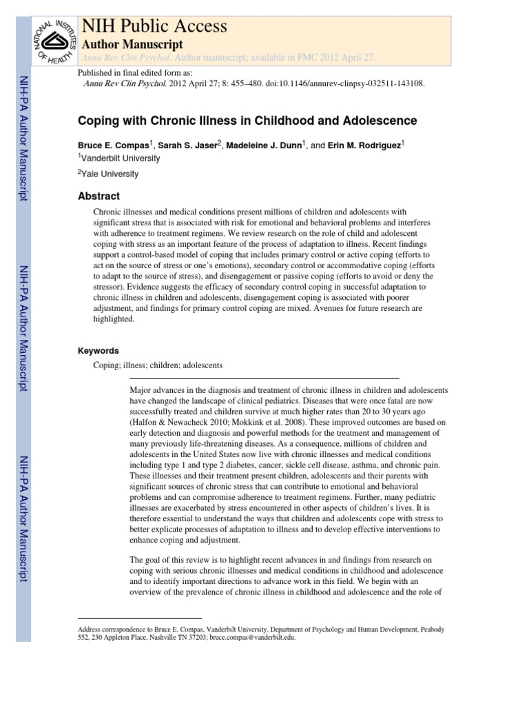 coping with chronic illness childhood adolescence | Coping (Psychology) |  Self-Improvement