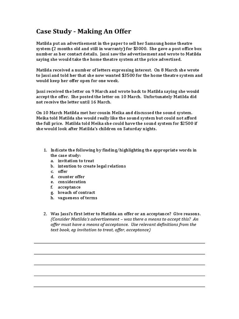 invitation to treat case study