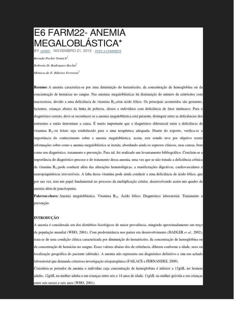 Dieta para anemia megaloblastica