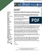 RAPBN 2010 Harus Realistis Dan Hati-Hati