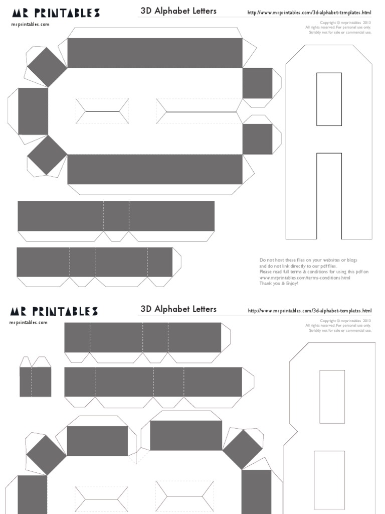 Mrprintables D Alphabet Templates A To M All Rights Reserved - 3d letters template