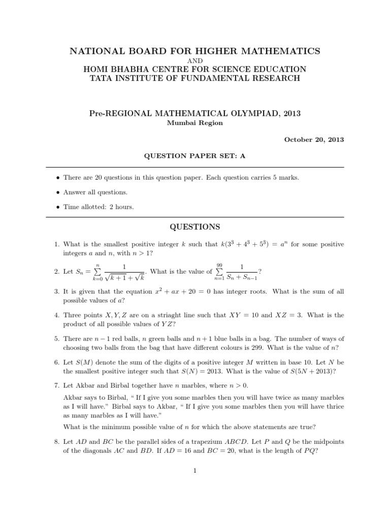 Rmo 2017 Question Paper