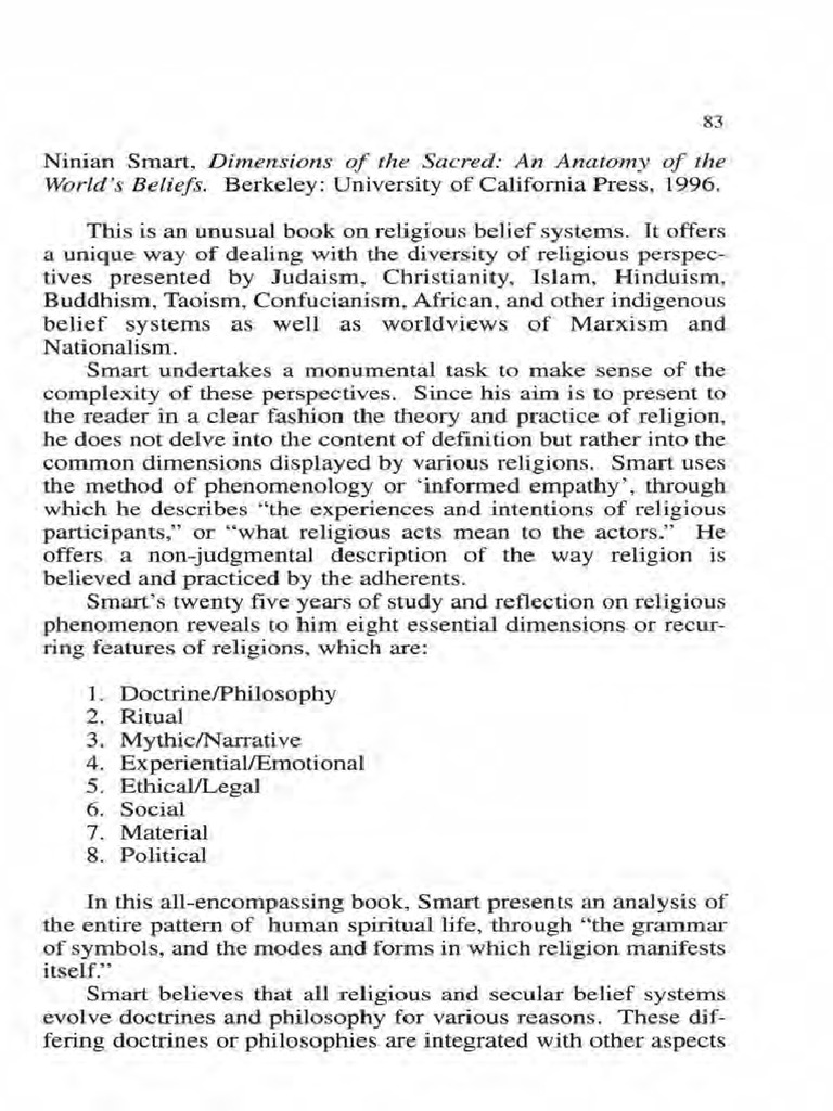 Ninian Smart.pdf | Cultural Anthropology | Religious Belief And Doctrine