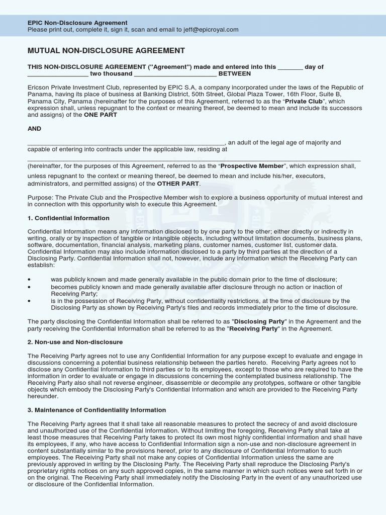 Nda08435921567pdf Non Disclosure Agreement Government Information