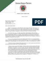 "Oneida Nation letter to NFL Commissioner Roger Godell on ongoing effort to dump ""Redskins"" from Washington team's name/mascot."