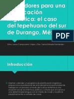 Indicadores para una planificación lingüística