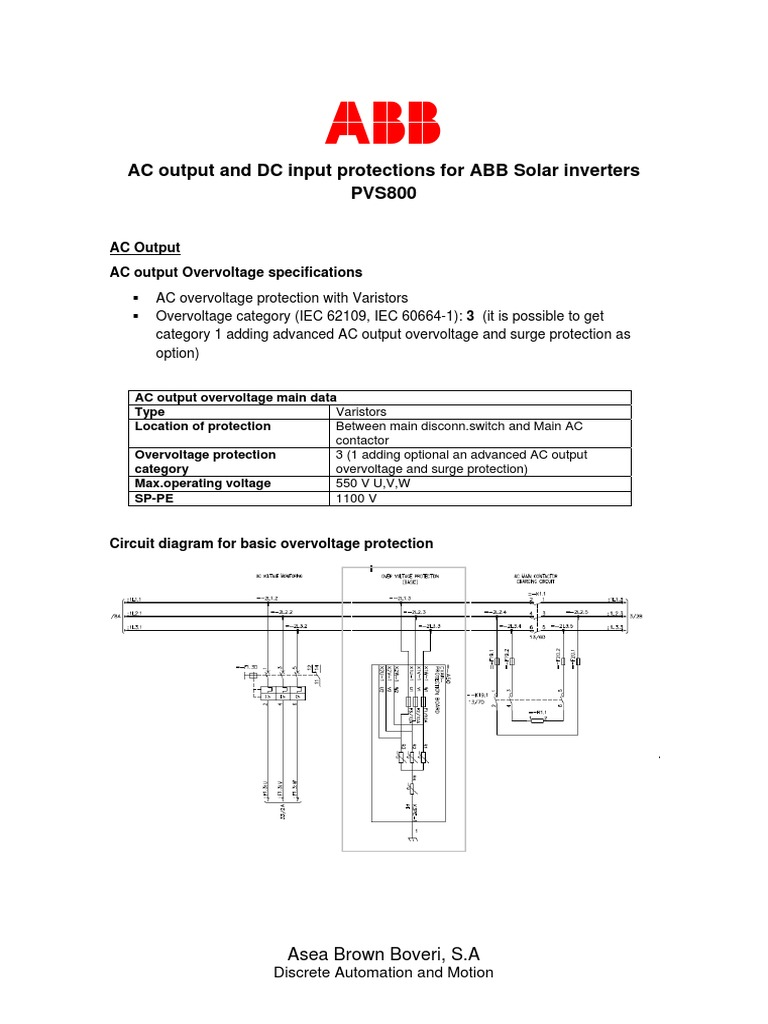ABB_PVS800_Protection AC DC side main data pdf | Power Inverter