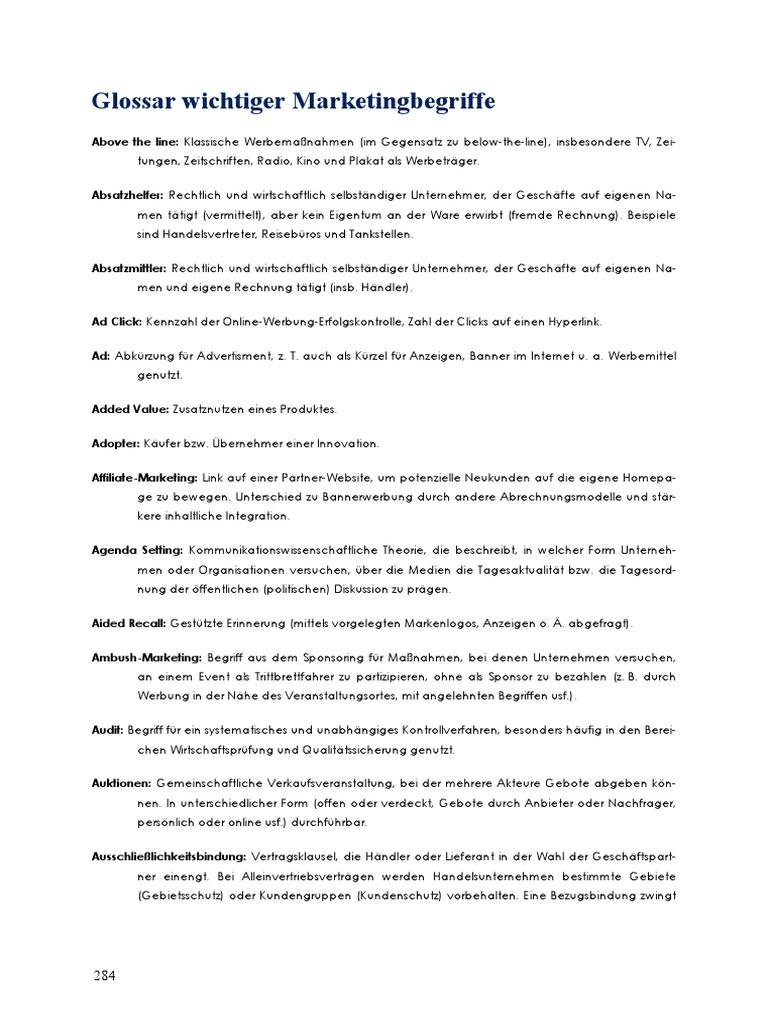 51453632 glossar wichtiger marketingbegriffe - Werbetrager Beispiele