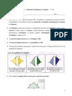 Texto sobre triângulos, quadriláteros e ângulos - Matemática - 7.º ano