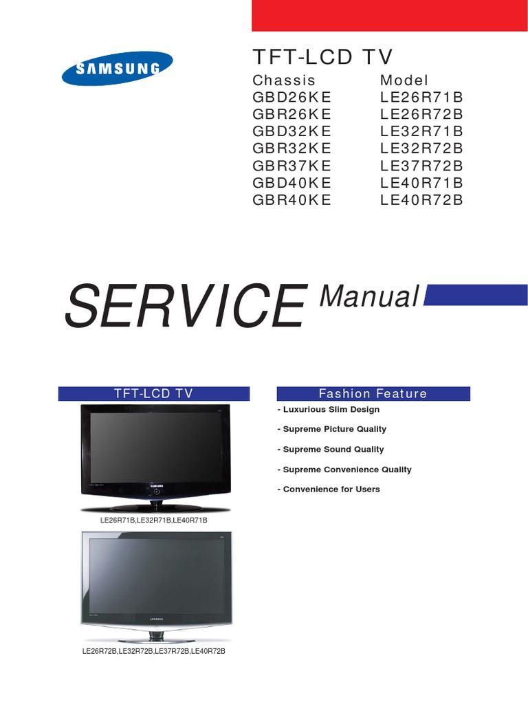 samsung le32r72b le26r72b le37r72b le40r72b service manual
