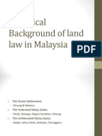 Land Law I HISTORICAL BACKGROUND OF THE MALAYSIAN LAND SYSTEM