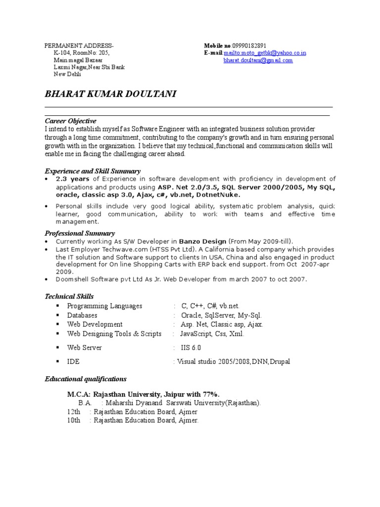 Bharat Resume Oracle Database Databases