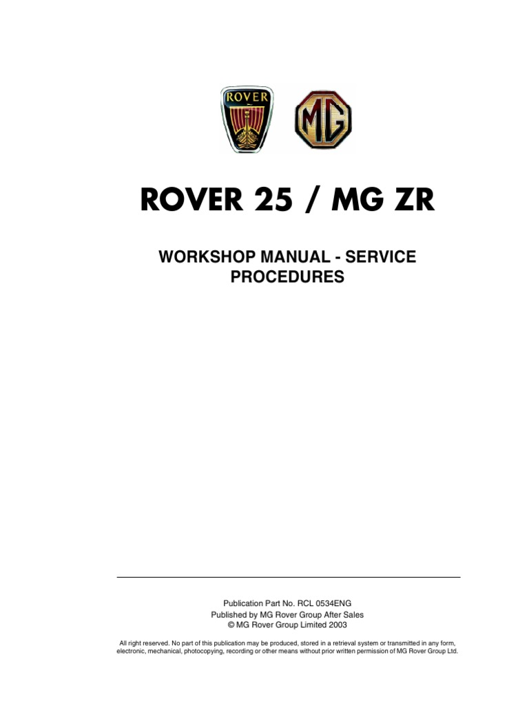 36561385 Rover 25 MG ZR Service Procedures | Manual Transmission |  Transmission (Mechanics)