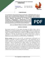Dignificación de Vìctimas Comunicado de Prensa Conavigua de Oct-2013