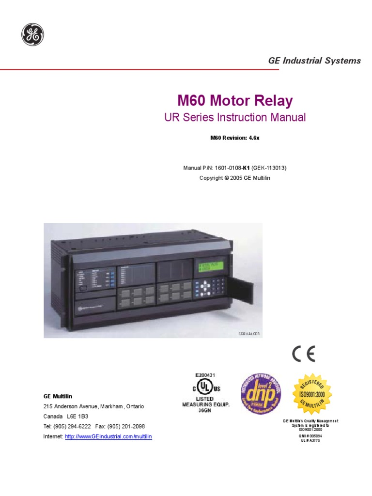 GE - M60 Motor Relay - Manual | Input/Output | Object (Computer ...