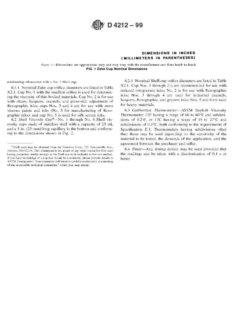 DOMPEL VISCOSITEITSBEKER ZAHN TYPE ASTM D1084 ASTM D4212