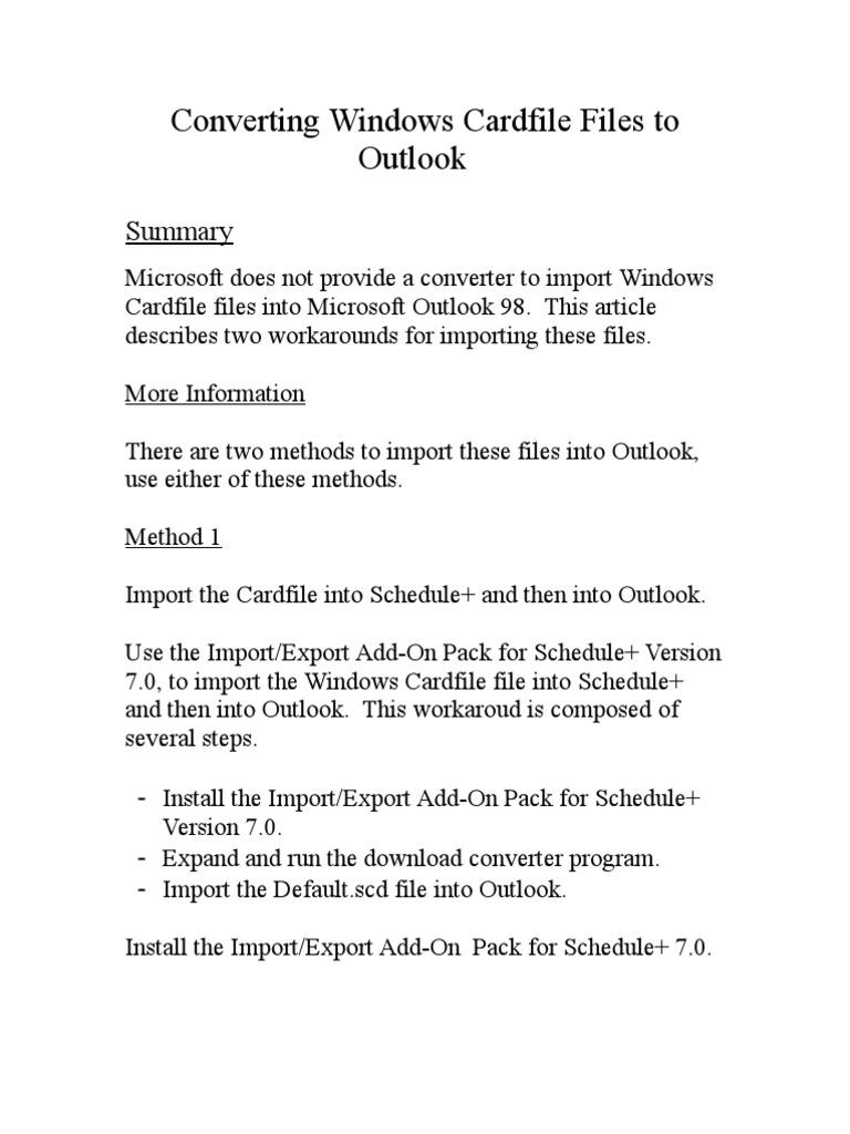 microsoft cardfile download