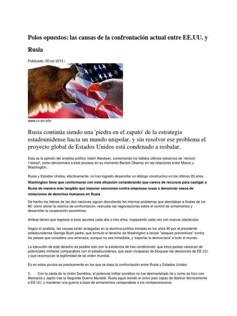 Polos opuestos las causas de la confrontación actual entre EE.UU. y ...