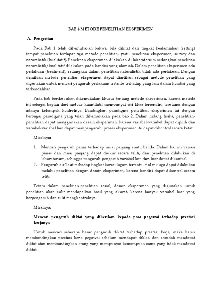 Bab 4 Metode Penelitian Eksperimen Docx