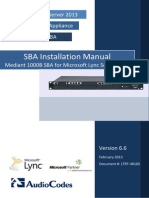 LTRT-40105 Mediant 1000B SBA for Microsoft Lync 2013 Installation Manual Ver. 6.6.pdf