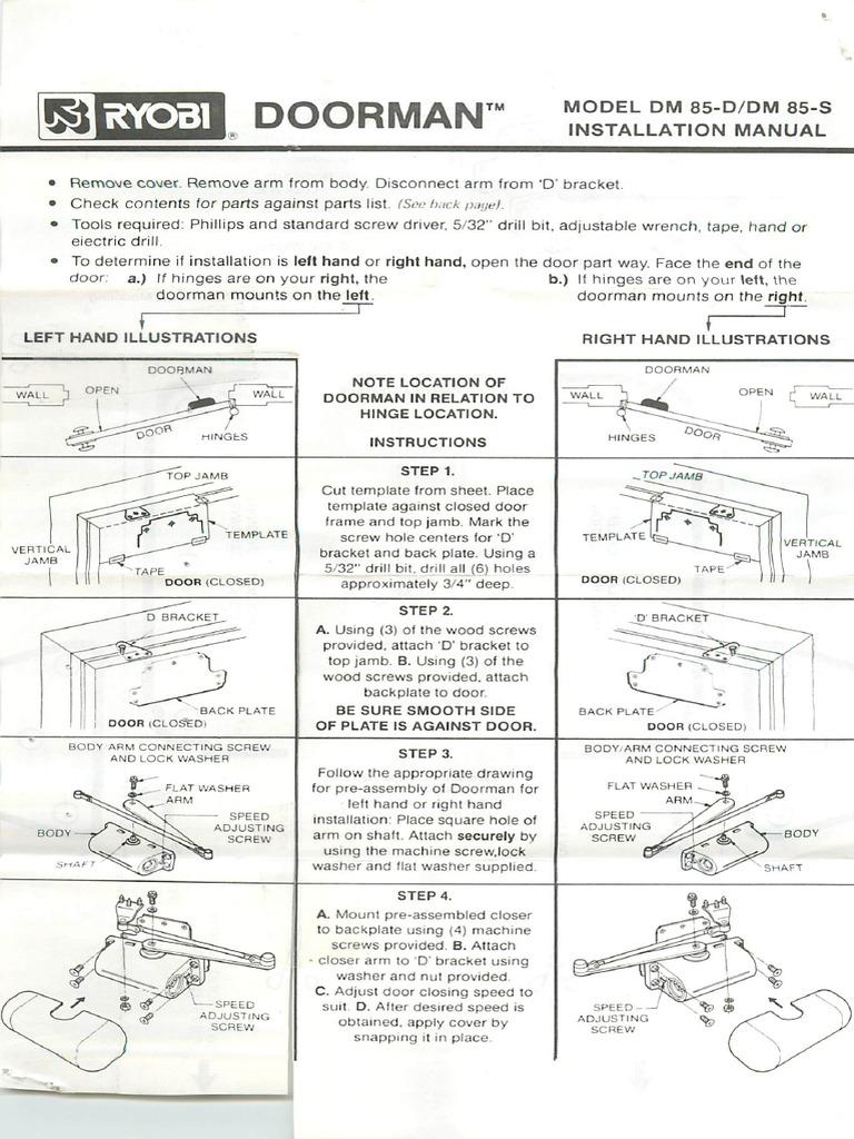ryobi door closer instructions