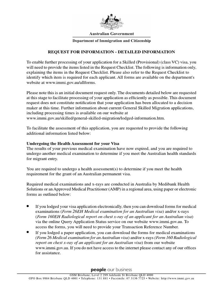 Request for Information - Detailed Information | Travel Visa