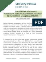 DISCURSO DEL PRESIDENTE EVO MORALES, EN LA RECEPCION DE PROYECTOS EN 40 MUNICIPIOS DE POTOSÍ