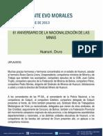 DISCURSO DEL PRESIDENTE MORALES EN EL 61 ANIVERSARIO DE LA NACIONALIZACIÓN DE LAS MINAS 31.10.2013