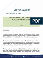 """DISCURSO DEL PRESIDENTE MORALES EN EL ENCUENTRO NACIONAL """"SOBERANÍA HIDROCARBURÍFERA AL 2025"""" 29.10.2013"""
