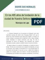 Discurso del presidente Evo Morales en los 465 años de fundación de la ciudad de Nuestra Señora de La Paz  21.102013
