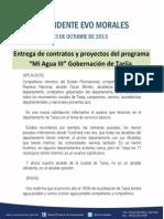 """Discurso del Presidente Morales en la entrega de contratos y proyectos del programa """"MiAgua III"""" Gobernación de Tarija."""
