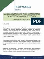 """DISCURSO DEL PRESIDENTE MORALES EN LA INAUGURACIÓN DE LA CANCHA CON CÉSPED SINTÉTICO EN LA COOPERATIVA MINERA """"POOPÓ LTDA."""" EN MUNICIPIO DE POOPÓ, ORURO 16.10.2013"""