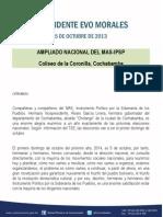 Discurso Del Presidente Morales en El Ampliado Nacional Del MAS-IPSP Coliseo de La Coronilla, Cochabamba 05.10.2013